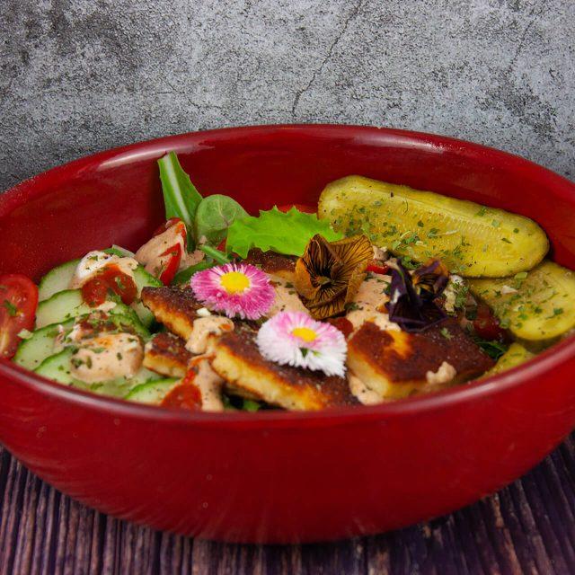 Rezept: grüner Blattsalat mit Grillkäse