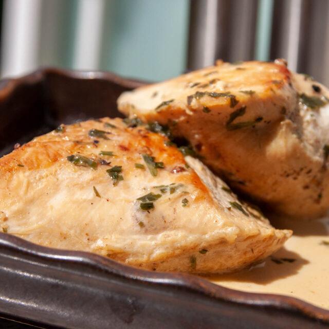 Rezept: Hähnchenbrust in Estragon-Sahnesauce
